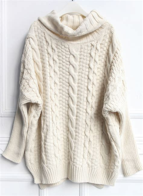 knit sweaters beige high neck cable knit sweater shein sheinside