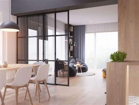Du00e9co Salon - verriere cuisine salle u00e0 manger aux murs blanc et gris avec parquet de bois et ...