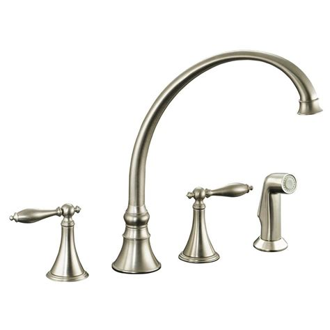 brushed nickel faucets kitchen kohler finial 2 handle pull out sprayer kitchen faucet in