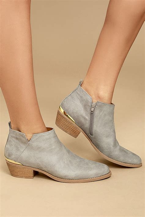 light grey booties light grey ankle booties grey vegan leather booties