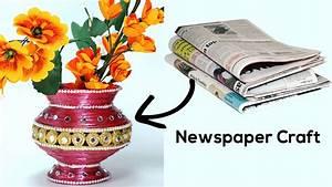 Best out of Waste - DIY Flower Vase with Newspaper Craft