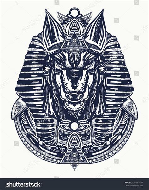 Anubis Tattoo Tshirt Design Anubis God Stock Vector
