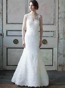 romantic illusion lace low v back sheath bridal wedding With sheath wedding dress low back