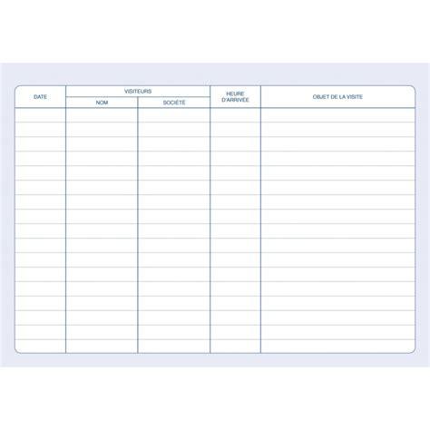 bureau registre des entreprises registre des visiteurs cahier de suivi des visites elve 43001 az fournitures