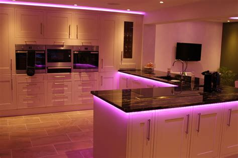 InStyle's RGBW LED lights make this kitchen shine