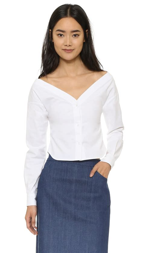 the blouse jacquemus the shoulder blouse in white lyst