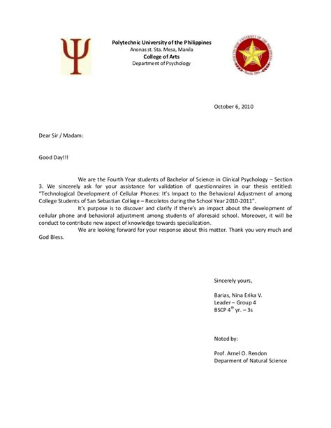 validation letter thesis