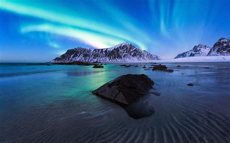 wallpaper  aurora borealis beach nature night sky