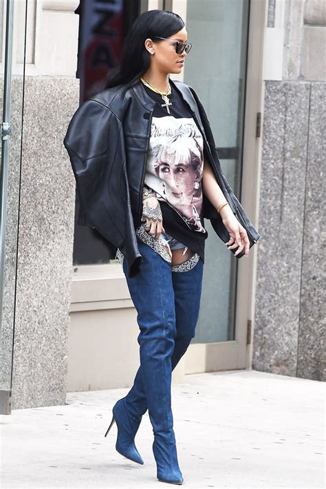 Rihanna Makes A Statement In Manolo Blahnik Denim Boots [PHOTOS] | Footwear News