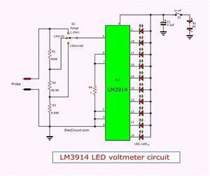 Simple Led Voltmeter Circuit Using Lm3914