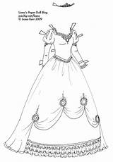 Coloring Princess Gown Paper Pages Ball Dolls Doll Gowns Liana Dresses Clothes Outline Fancy Cinderella Template Sketch Printable Decorations Simple sketch template