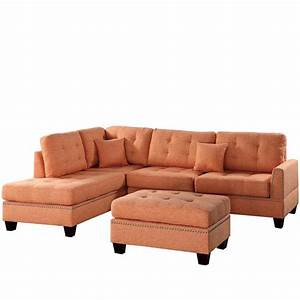 venetian worldwide barcelona 3 piece sectional sofa in With barcelona sectional sofa ottoman