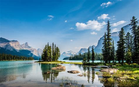 national park jasper lake maligne spirit island wallpaper