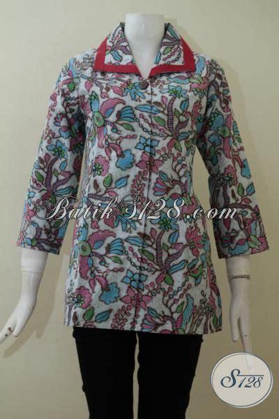 blus batik model terkini  kerah lebar lebih mewah