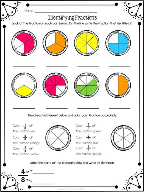 identifying fractions freebie education math sheets