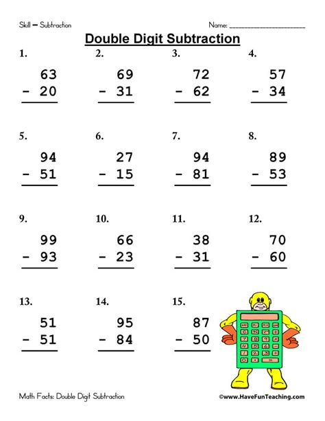 First graders should practice — and master — adding a. Double Digit Subtraction Worksheet Pack • Have Fun Teaching