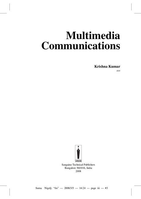 Download Multimedia Communications by Krishna Kumar PDF Online