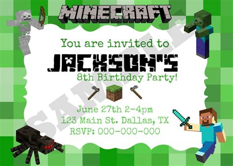 images  minecraft party invitation printable template