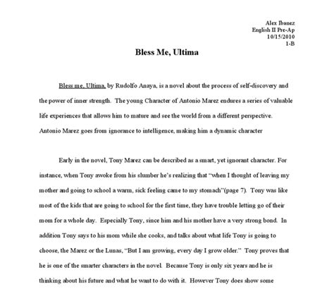 An Essay In Bless Me by Character Analysis Essay Bless Me Ultima By Rudolfo