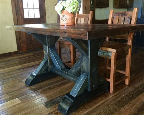 cool waters rough sawn pine dining table  rustic