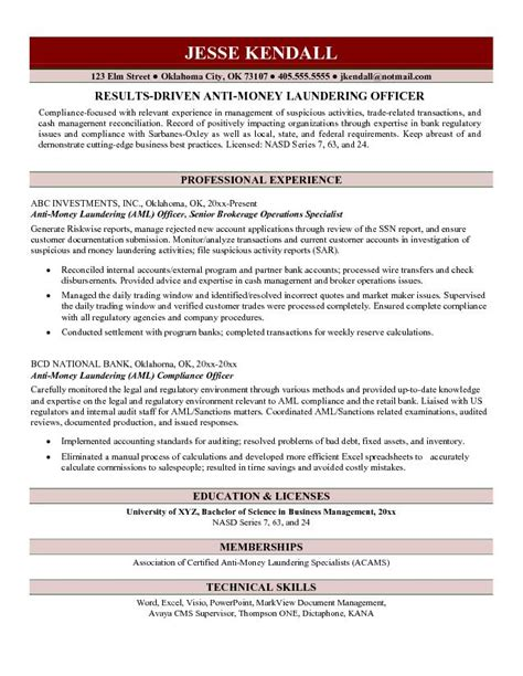 resume for aml compliance officer free anti money laundering officer resume exle