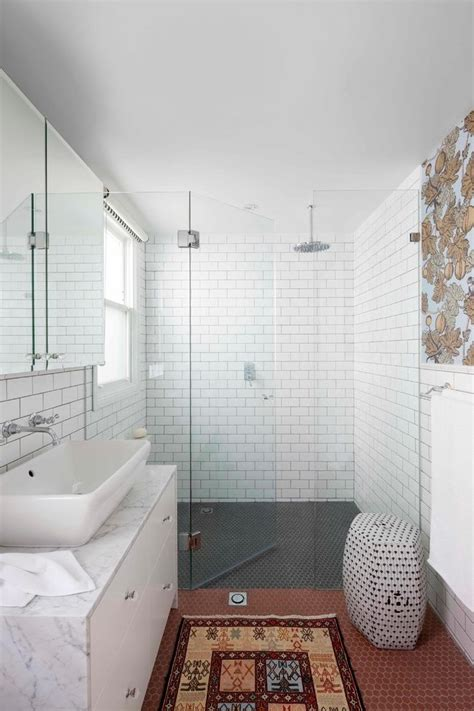 sydney subway tile bathroom transitional  wallpaper