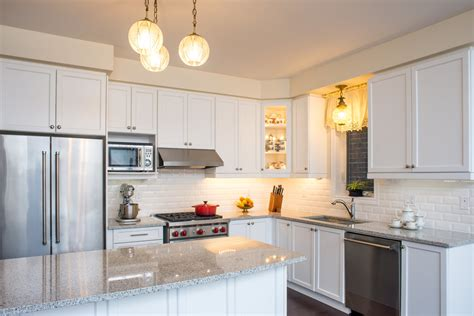 pearl granite kitchen white cabinets and subway tile