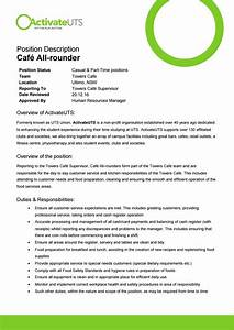 Customer Service Duties Responsibilities Café All Rounder Position Description By Activateuts Issuu