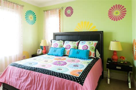 Bedroom Bedding And Upholstered Headboard With Girls
