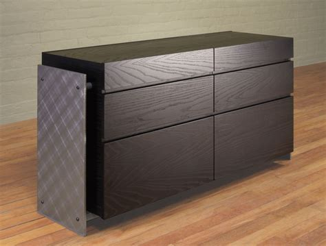 wood and metal media console wood and steel credenza contemporary credenza custom