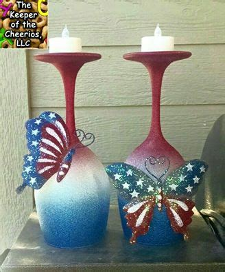 whimsical patriotic wine glass candle holders  keeper