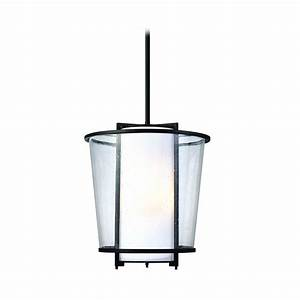 Modern outdoor hanging light with white glass in forged