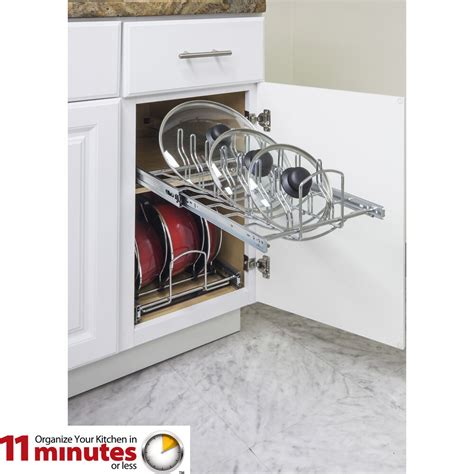 lid organizer pan pots cabinet base kitchen organizers hardware chrome resources minute pull storage organization inch wide accessories polished pot
