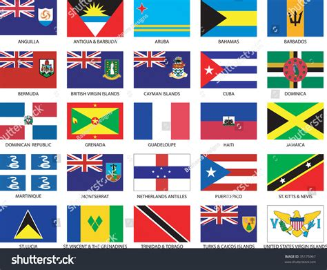 complete set  caribbean countries flags stock vector