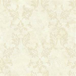 Brewster Bentley Beige Damask Wallpaper Sample