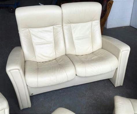 ekornes stressless style cream recliner leather 6pc sofa