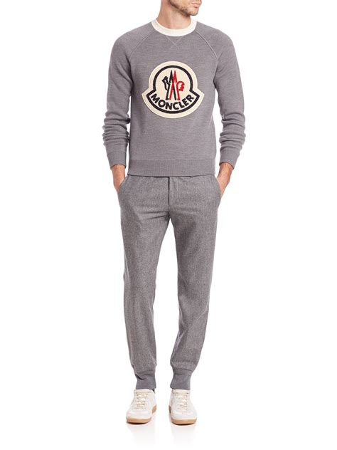 moncler sweater moncler maglione logo sweater in gray for lyst