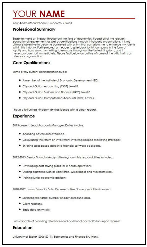Professional Objective In Cv by Cv Exle With Career Objectives Myperfectcv