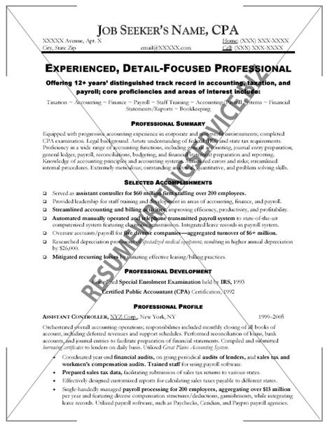 professional cpa resume sle