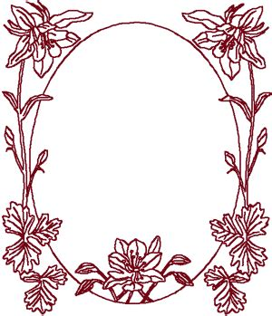 redwork oval lily frame embroidery design