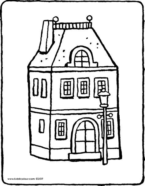 Kleurplaat Huis Met Klimop by Huis Met Lantaarnpaal Kiddicolour