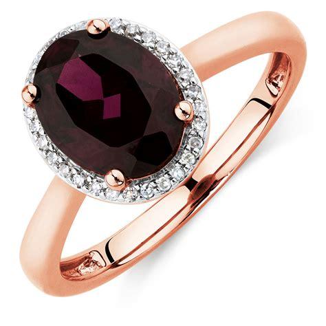 ring with rhodolite garnet diamonds in 10ct gold