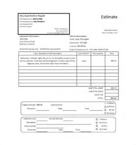 Auto Repair Cost Estimate Free by Auto Repair Invoice Templates 7 Free Documents