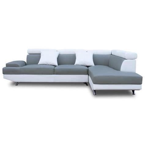 canap d angle scoop scoop canapé d 39 angle droit 4 places simili gris et blanc