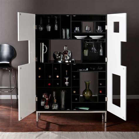 Where To Buy Bar Cabinets by Wine Liquor Cabinet Black White Display Decor Sleek