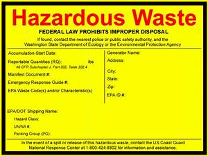 washington state department of ecology print free labels With hazardous waste label template
