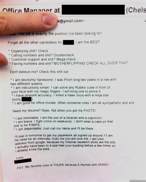 Best Resume Cover Letter Ever Submitted! Quickmeme