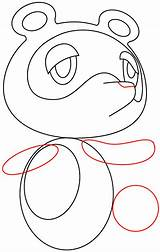 Nook Tom Crossing Animal Drawing Step Easy Draw Tutorial Nose Circle sketch template