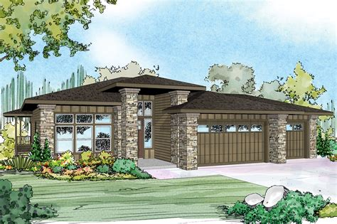 prairie style house plan hood river sloping lot house plan designs