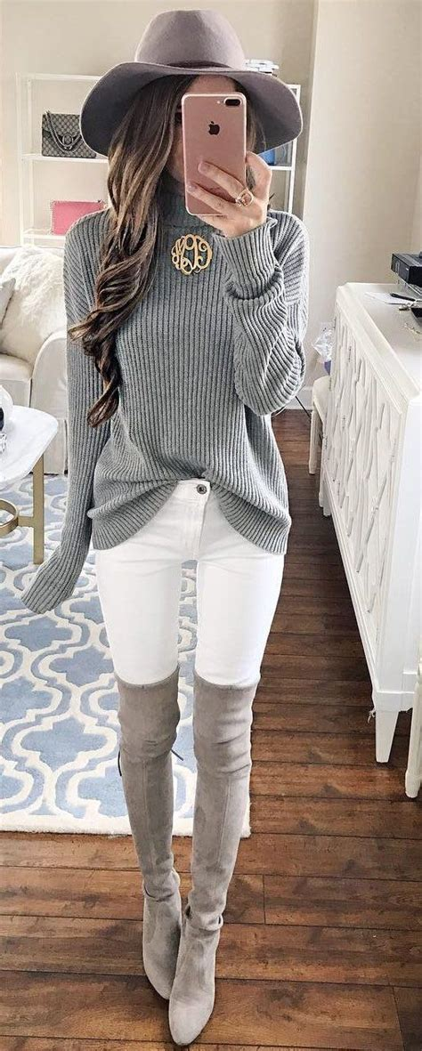 Outfits With Grey Sweaters